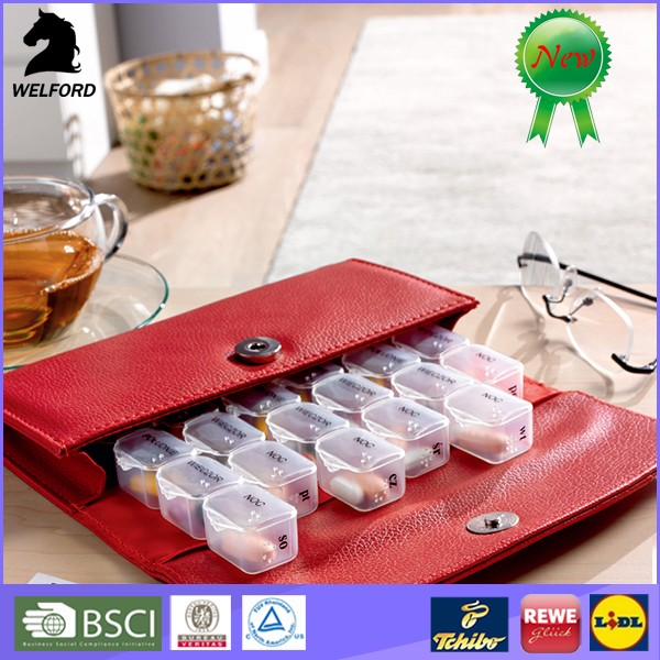 Factory supply Portable Private Label Monthly 28 Day Plastic round Pill Box for Sale with PU bag
