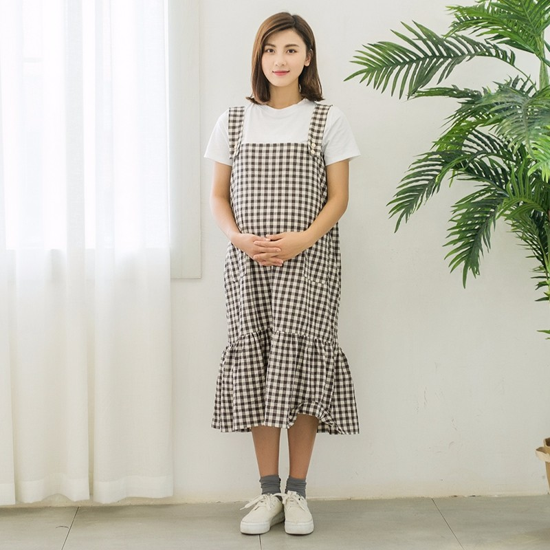 Formal pure color summer korean style tiered plaid long dress maternity
