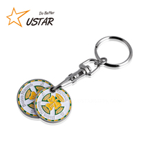 Wholesale Custom Metal Euro Shopping Cart Trolley Coin Holder Keychain, Token Coin Keyring