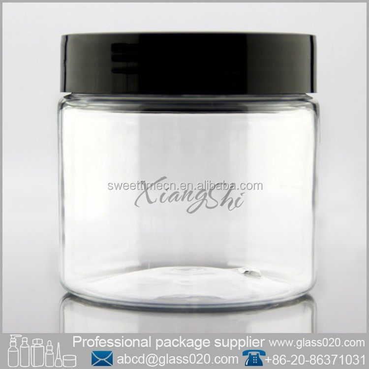 PET cosmetic plastic jars with black colored lids