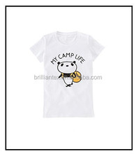 kids t shirt digital printing lovely panda camp life trip t shirt custom cartoon t shrit made in china