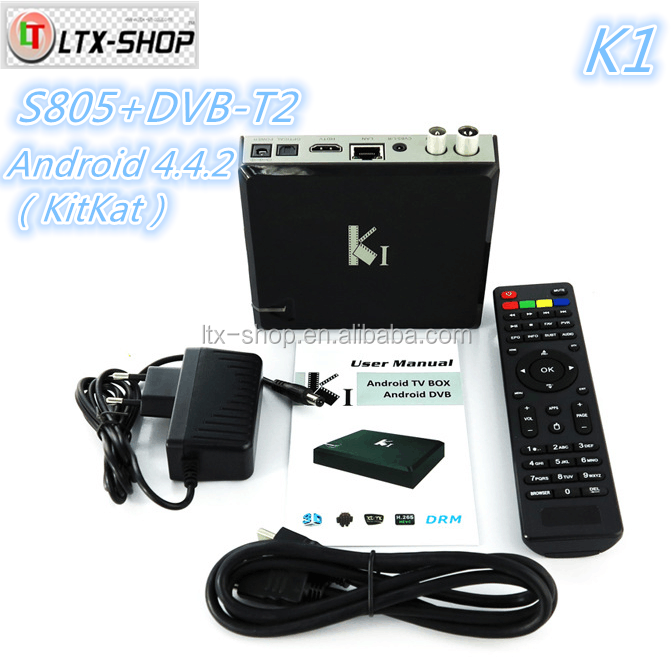Hot-selling Android DVB-T2 Set Top Box AML 805 Android 4.4 DDRII 1GB 8GB Flash K1 Hybrid Android TV Box Wholesale Price