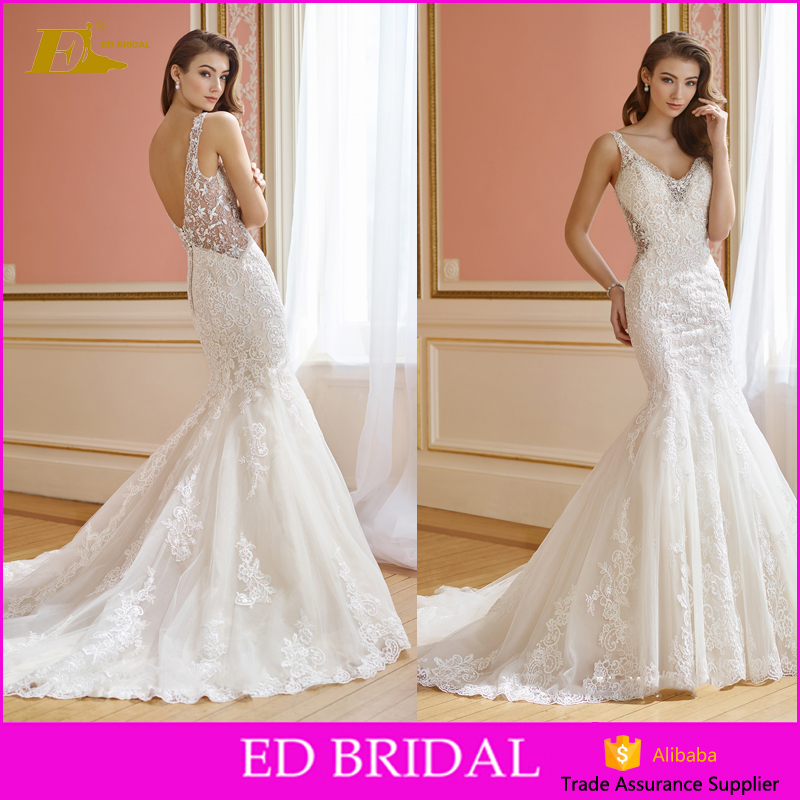 2018 Latest Design ladies lace mermaid open back v neck alibaba bridal gowns fashion wedding dresses