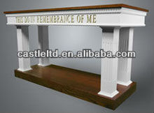 Solid wood church furniture,wooden opened Communion Table in White finish with oak Tops and Trim,church table