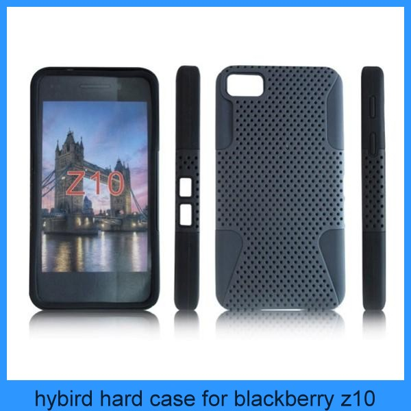Mesh design fancy 2 in 1 Cellular Cases For Blackberry Z10 cell phone double case
