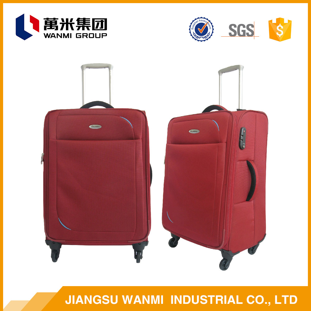 Polyester fabric 20 and 22 inch red soft luggage for suitcases