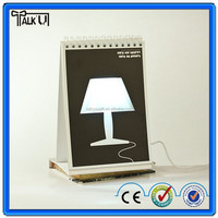 Hot beauty led printing page by page table lamp usb calendar, folding touch DIY led desk lamp usb calendar