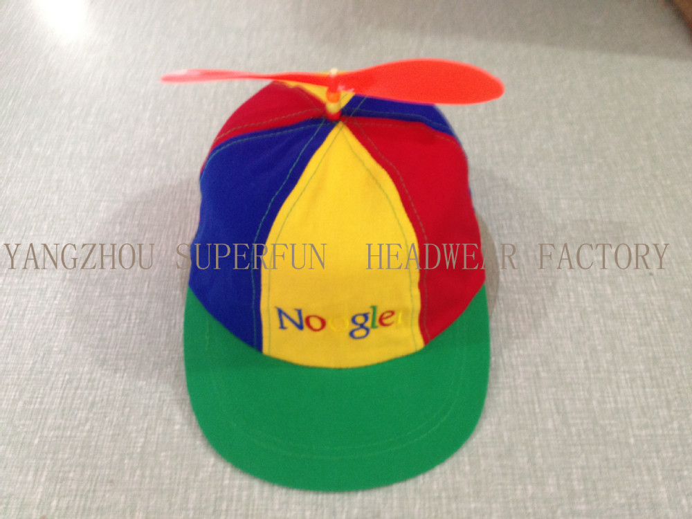Popular colorful cap with top decorarion fan blade