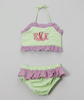 Children swimwear young girl beach outfit seersucker plaid ruffle bikini 2pc set kids baithing suit