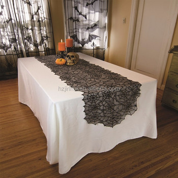 Halloween decoration black spider web lace table runner for Holiday 20x80 inch walmart lace table runner
