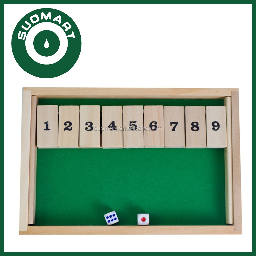 Wood Shut the Box Dice Board Game
