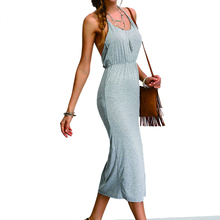 Sleeveless Bare-back Backless Side Split Women Cotton Long Beach Slip Dress