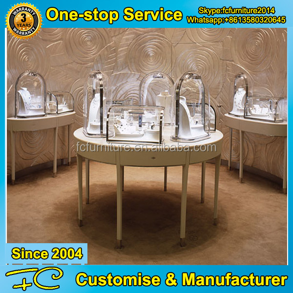 Unique crystal glass vitrine display cabinet for retail store display cabinet