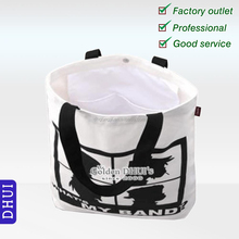 customized snap fastener canvas beach bag,printed logo,cotton promotional tote bags with small inner bag