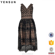 Women OEM Small Quantity Elegant V-neck Sleeveless Lace Woven Cocktail Dress
