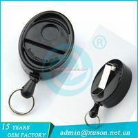 Oval shape retractable magnet badge older for card holder with key ring