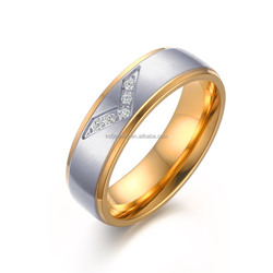 "KSF Stainless Steel Gold Plated Ring With ""V"" Shape Zircon Matte Surface Finished Rings Wholesale"