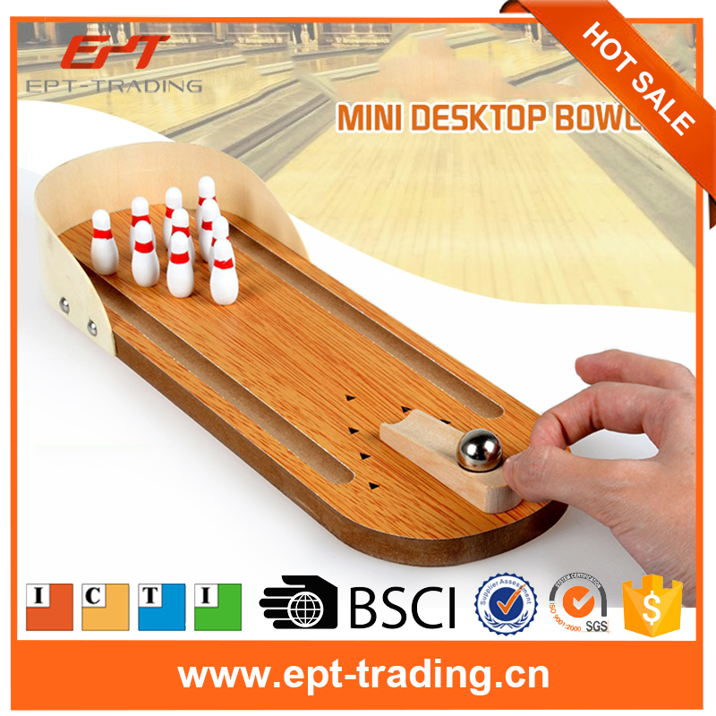 Mini bowling desktop game children wood toy for sale