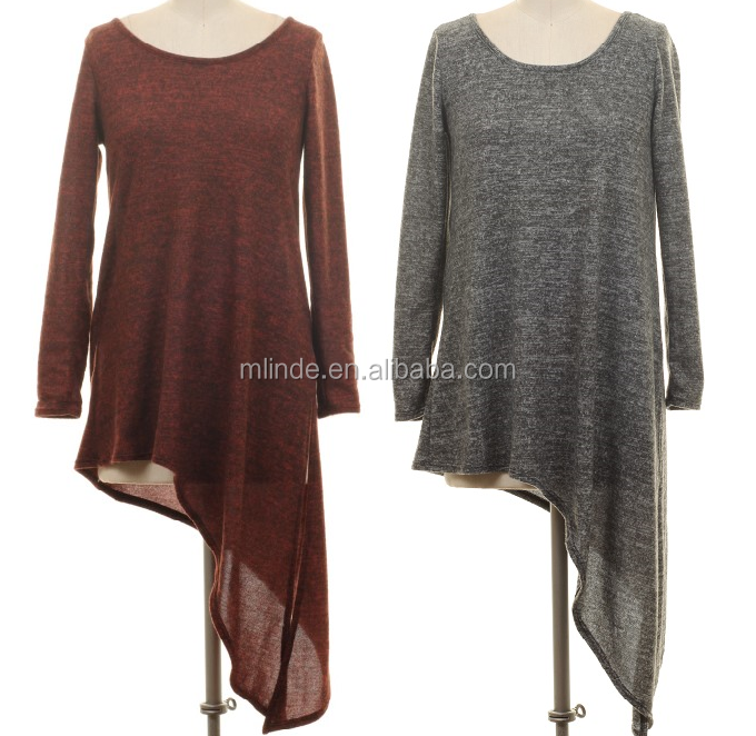 TWO TONE UNBALANCED TUNIC TOP ,women long sleeve tops,oversize long sleeve top