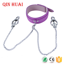 chain leash neck bondage restraints,adult sex necklace collar toys with nipple clip