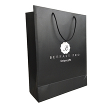 Promotion Fashion Design You Own Branded Unique Store Black Shopping Paper Bag Packaging