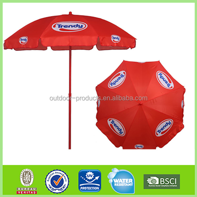 2017 red branded beach umbrella advertising promtional umbrella with customized logo