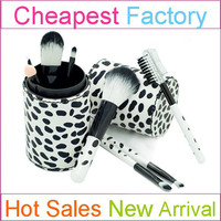 Factory 7pcs cow print brand cosmetic brush set with cow cup holder for make up