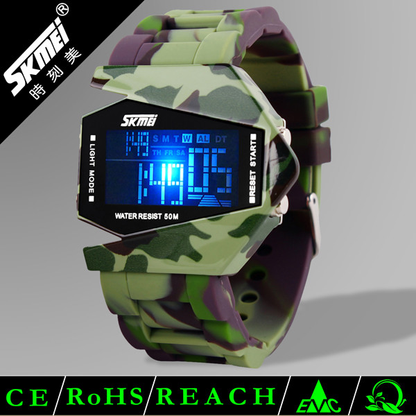 SKMEI airplane design digital silicone ion sports soft band led watch #0817