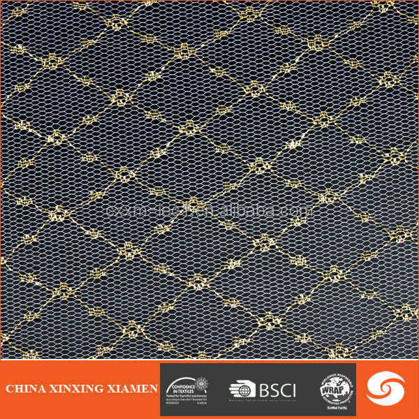 2014 hot golden mesh organic cotton fabric for lady pants