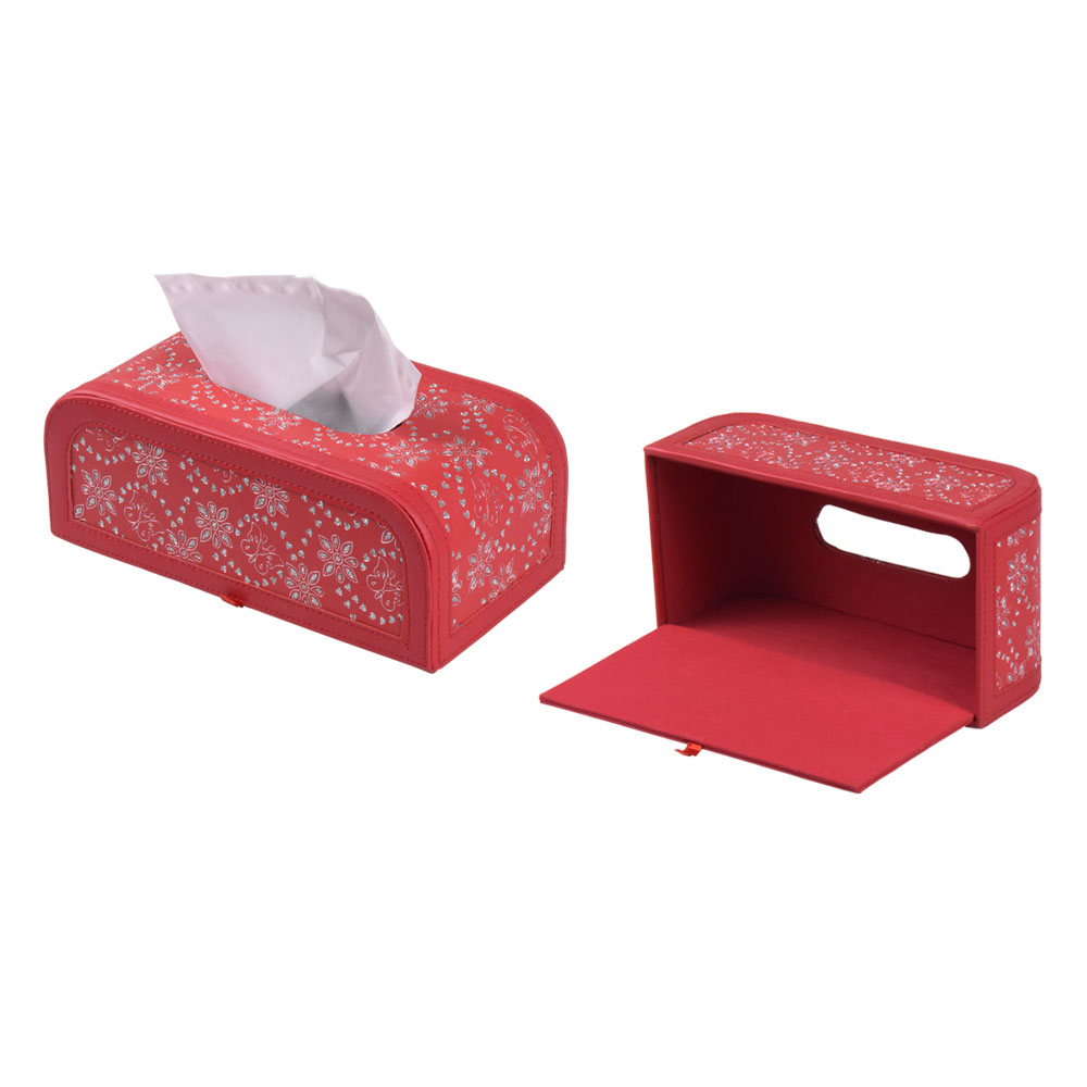 Fancy custom tissue box holder megnetic leather facial tissue box