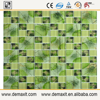 green foil chinese Personalization Back glass Mosaic tile