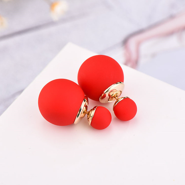 2016 Newest High Quality Double Faced Pearl Stud Earrings 19 Candy Colors Mix Women Korea Rubber Fashion Jewelry