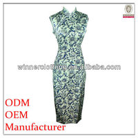 chinese style maxi dress mandarin collar slim fit light blue and white wedding dress