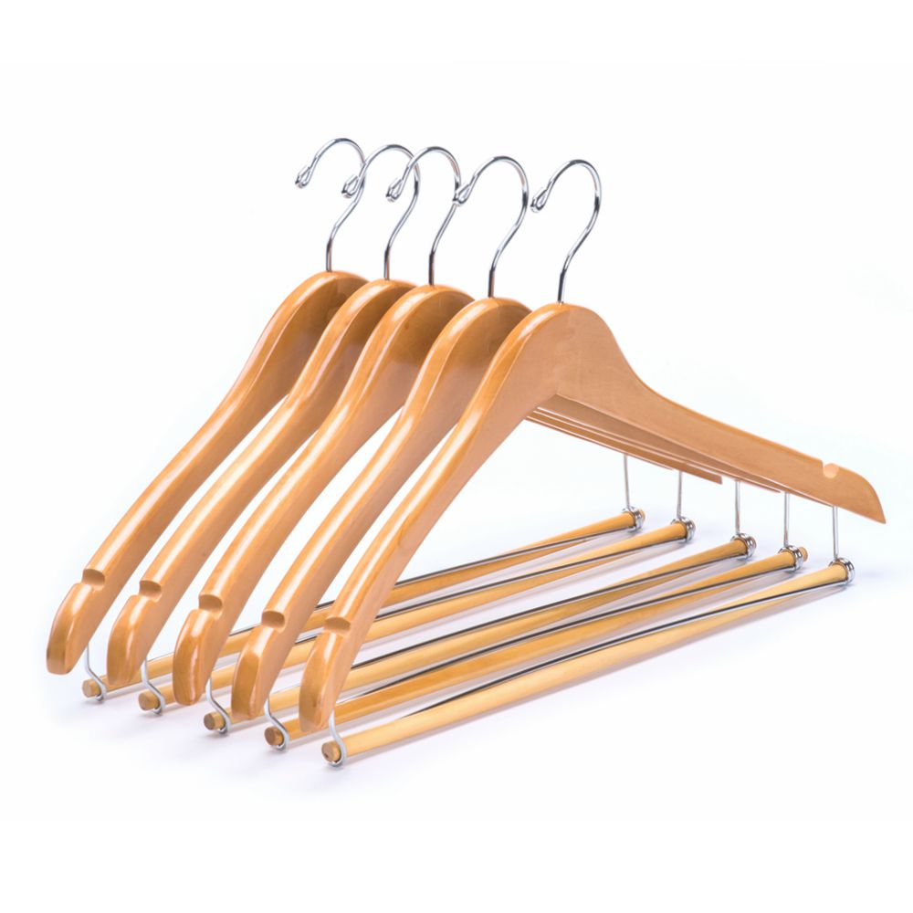 Natrual Contour Body Wooden Suit Hanger with Pants Locking Bar