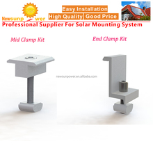 Newsunpower Mid & End Clamp Kit for rooftop & ground PV Solar panel mounting structures/brackets