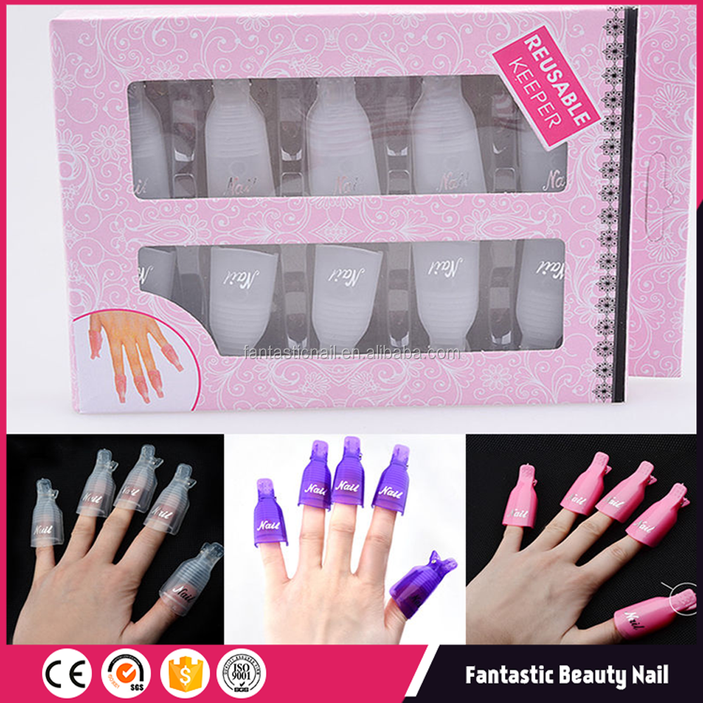 Nail Art supplier 10pcs plastic nail art UV gel polish Remover wrap soak Off cleaner cap clip