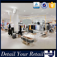Fashion Design retail garment store clothing hanging display rack,garment store display rack
