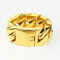 32mm heavy pvd gold chain plated bracelet hand chain for men, yellow gold chain bracelet models MJCB031