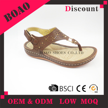 wholesale low price ladies sandal chappal leather slipper women to wear with jeans