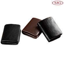 Oil wax crazy horse genuine leather men wallets custom handmade with debossed logo from china leather factory
