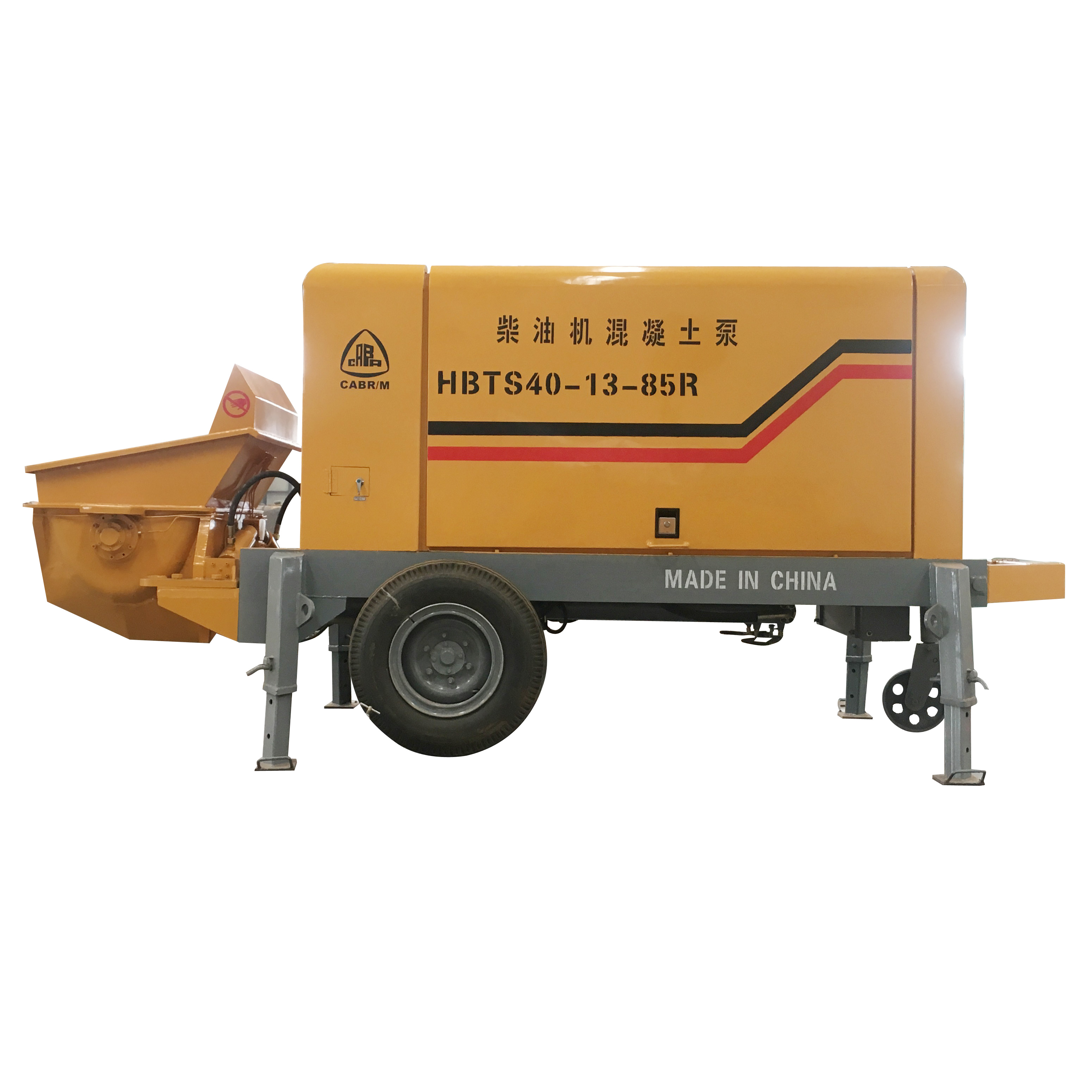 CE Certificate HBT40R 40m3/<strong>h</strong> Diesel <strong>Engine</strong> Type S Pipe Distribute Valve Movable Trailer Fine Stone Concrete Pump Factory Price