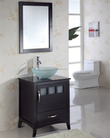 Single Faucet Hole Oak Wood Freestanding Bathroom Vanity Cabinet with Tempered Glass Sink
