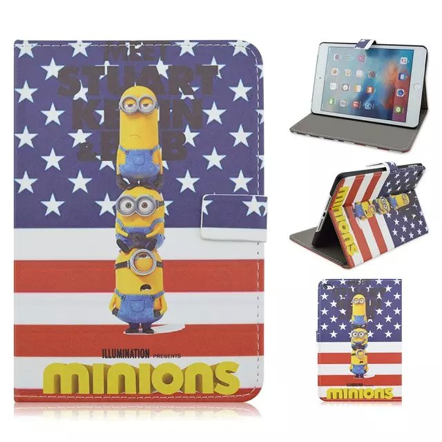 Cartoon Despicable Me Minion Print Flip Leather Case For iPad Mini 4