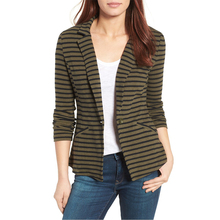 Womens clothes 2017 stripedd one-button cotton blazer for formal occation