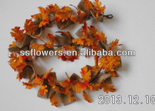 2014 New Style Artificial Fall Flower Garland Artificial 60inch Burlap With Maple Leaves Flower Garland