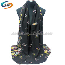Colorful fashion pearl chiffon long shawl hijab muslim scarf