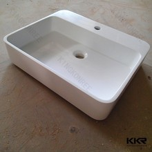 Artificial stone acrylic solid surface vanity top washbasin