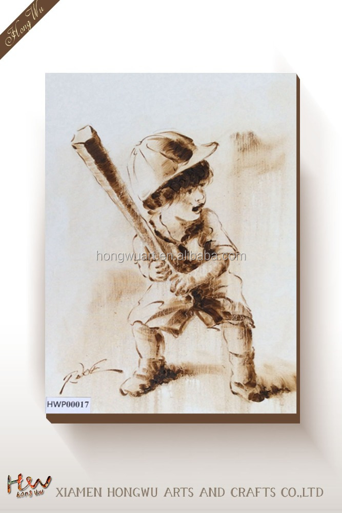 Modern Custom Simple Boy Play Baseball Canvas Prints Wall Art Oil Painting for Kids Living Room