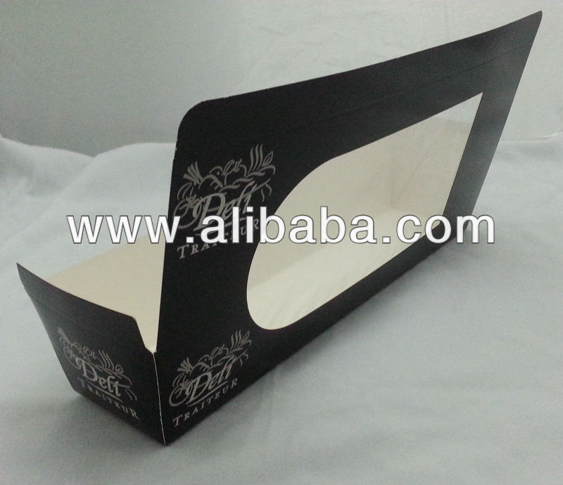Baguette Box for food Stock delivery immediately long black color PLA