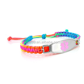 Kids Rainbow Macrame Hospital Id Bracelet With Surgical 316l Stainless Steel Pink Enamel Logo Tag